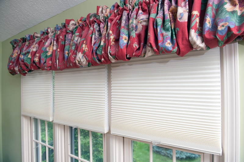 Honeycomb Shades with color balloon valance, window coverings in the blinds and shades category