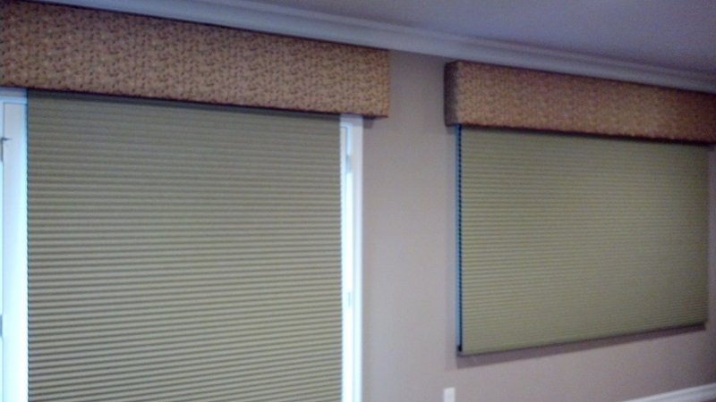 Two windows with honeycomb shades