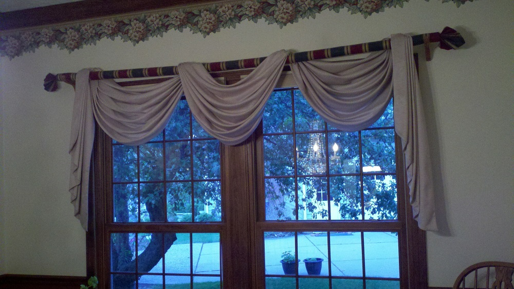 Charmant Dining Room Swag Curtains
