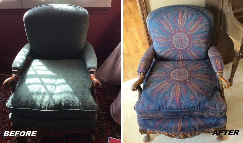 Before and After of this reupholstered accent chair