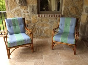 Customer problem solved, two chairs for a porch, cushions recovered.