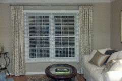 Living Room Drapes with Wooden Blinds