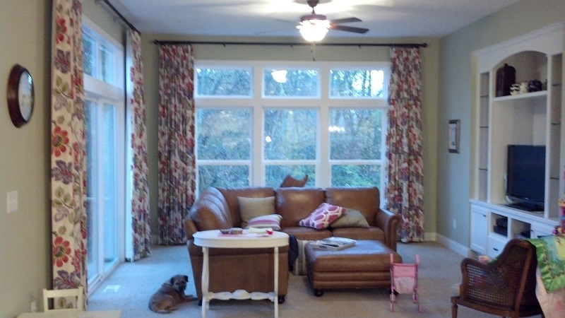 Large long drapes window treatment for big windows sew for Blinds for tall windows
