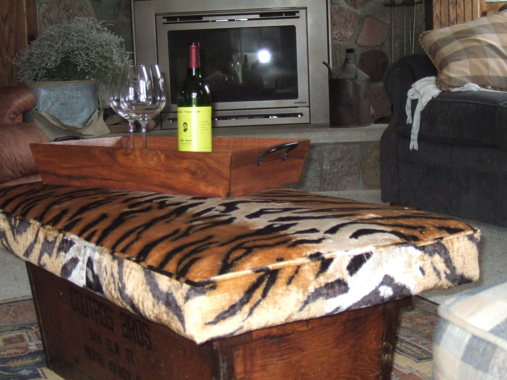 Upholstered Cushion Footstool Also Coffee Table Animal Print
